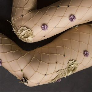 Accessories - Embroidered floral embellished nude fishnets